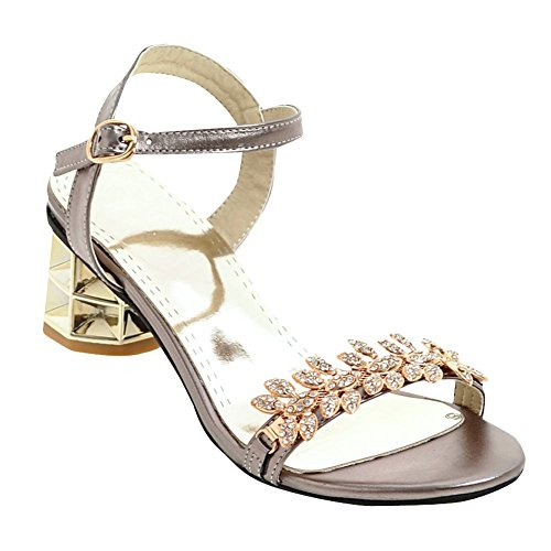 Mee Shoes Damen chunky heels Schnalle Strass Sandalen Taupe
