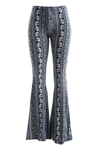 Fashionomics Womens BOHO COMFY STRETCHY BELL BOTTOM FLARE PANTS (L, BH7NY)