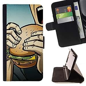 BullDog Case - FOR/Samsung Galaxy Note 3 III / - / Pop Art Burger /- Monedero de cuero de la PU Llevar cubierta de la caja con el ID Credit Card Slots Flip funda de cuer