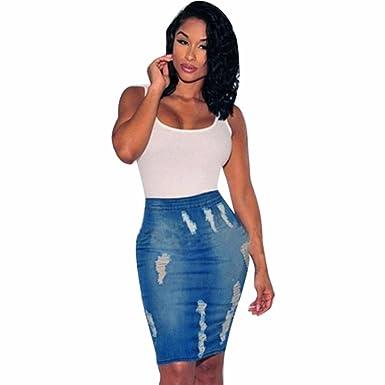 496017325d2f OHQ Lady Jupe en Denim Trou Bleu Femmes Stretch Bodycon Pencil Jeans Taille Jupes  Longues Evasees
