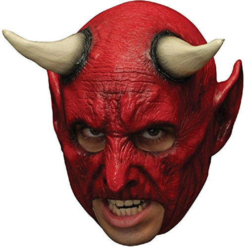 Red Demon Devil Latex Mask Open Mouth Prosthetic Teeth Adult Halloween Horror (Halloween Mouth Prosthetic)