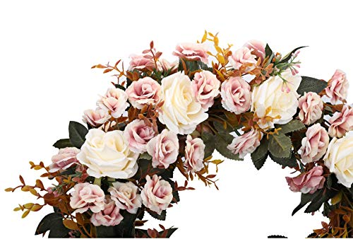 Duovlo-Rose-Floral-Twig-Wreath-19-Inch-Handmade-Artificial-Flowers-Garland-Front-Door-Wreath-Champagne