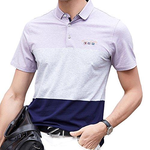 なしで石の大学院ポロシャツ メンズ ゴルフウェア 半袖 コットン 通気性良い 刺繍 ストレッチ 二重衿 軽量 通気性良い