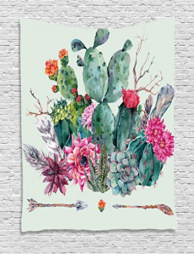 Cactus Decor Tapestry by Ambesonne, Spring Garden