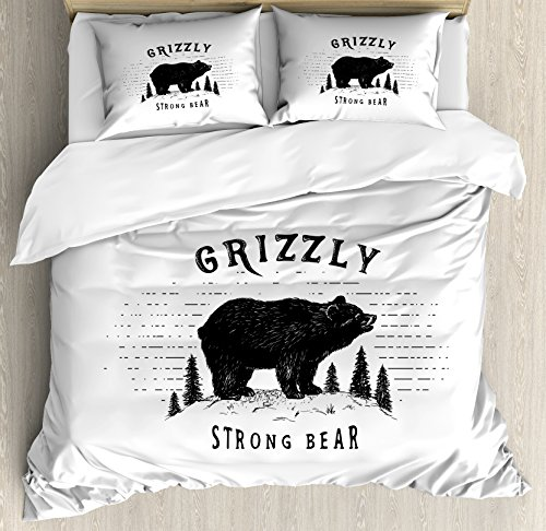 Ambesonne Bear Duvet Cover Set Queen Size, Strong Grizzly Bear in The Forest Vintage Grunge Look Life in The Mountains Theme, Decorative 3 Piece Bedding Set with 2 Pillow Shams, - Comforter Mountain Queen