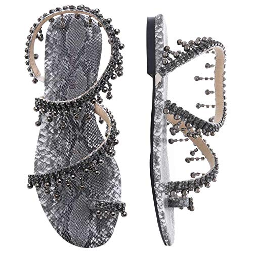 Shoe'N Tale Women Bling Rhinestone Pearl Flat Gladiator Sandals Toe Ring Dress Shoes (8.5, Black ()