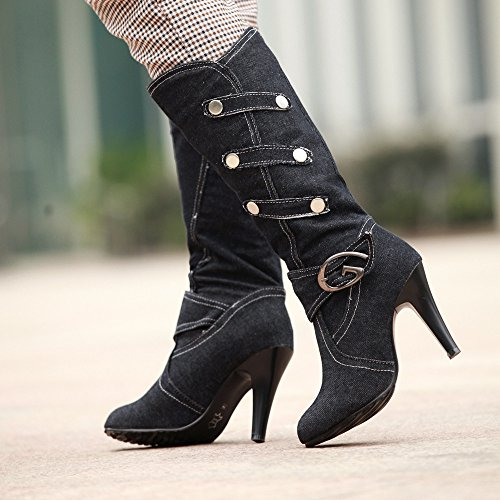 Levory J Womens Slouchy Mid Calf Denim Boots High Heels With Ankle and Top Straps Black HFulf