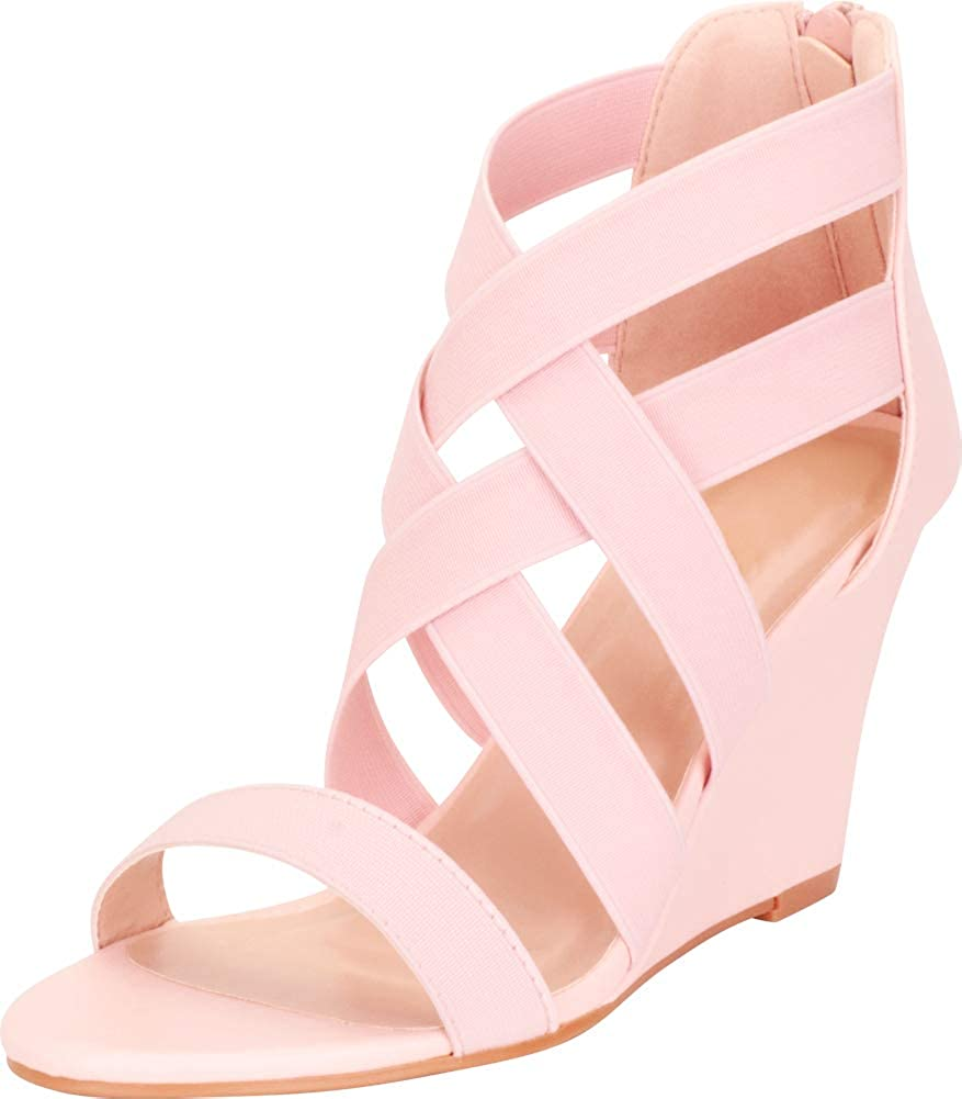 Pink Cambridge Select Women's Crisscross Strappy Lattice Wedge Sandal