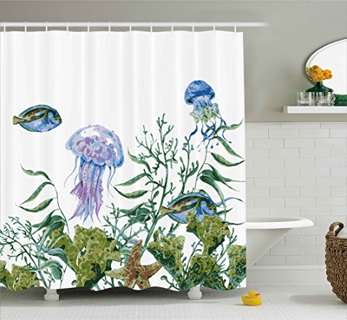 Ambesonne Ocean Shower Curtain, Watercolor Style Effect Sea Life Pattern with Seaweed Jellyfish and Fish, Fabric Bathroom Decor Set with Hooks, 75 Inches Long, Reseda Green Jade Green - Green Jade Fish