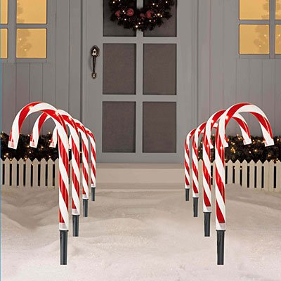 KnlStore Set of 8 Red White Lighted Candy Cane Pathway Stake Christmas  Holiday Outdoor Decor Marker Driveway Path Lawn Clear Lights Yard Decoration - KnlStore Set Of 8 Red White Lighted Candy Cane Pathway Stake