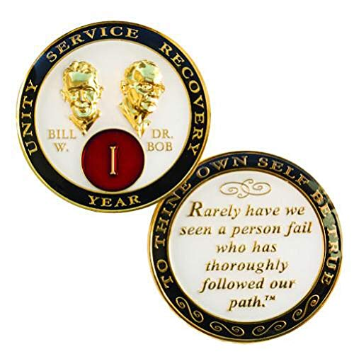 Recovery Line 7 Year White, Black, Red, Gold AA Alcoholics Anonymous Bill and Bob Medallion, Chip, - 24kt Gold 7 Coin