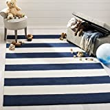 Safavieh Kids Collection SFK919N Handmade Classic Stripe Wool Area Rug (5' x 7')