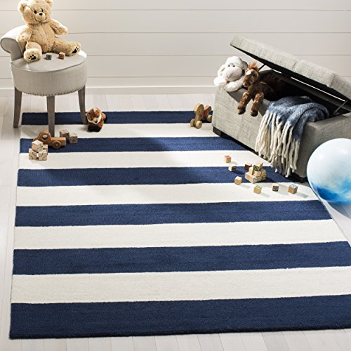 Safavieh Kids Collection SFK919N Handmade Classic Stripe Wool Area Rug (5' x 7') by Safavieh