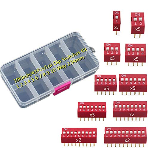 SamIdea 10Kinds/41Pcs/Lot Dip Switches Kit In Box 1 2 3 4 5 6 7 8 9 10 Way 2.54mm Toggle Switch Red Snap Switches,PCB Mountable On Off Dip DIL Switch Kit for Circuit, Breadboards, and Arduino