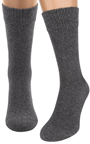 (Air Wool Socks, Merino Wool Organic Cotton Thermal Heated Yarn Dress Sox, 2 pair (Grey)