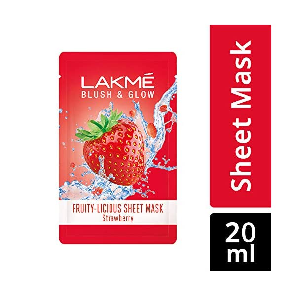 Lakmé Blush & Glow Strawberry Sheet Mask, 25 ml 2021 July 100% real fruit extracts Gives a glow that feels like just out of a fruit facial Instantly hydrates skin