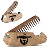 Wooden Beard Comb for Men. Folding Pocket Comb for Moustache, Beard & Hair. Walnut Combs with the Bearded Man Engraving