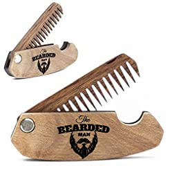 Wooden Beard Comb for Men. Folding Pocke...