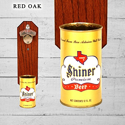Wall Mounted Bottle Opener with Vintage Shiner Beer Can Cap