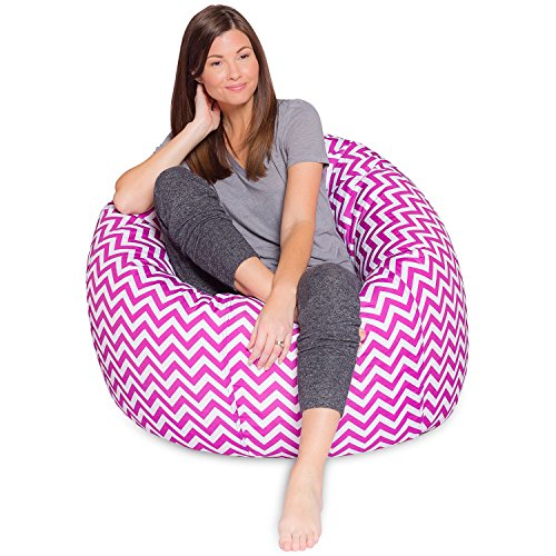 35' Patterned Bean Bag for Teens Adults & Children, Pink and White