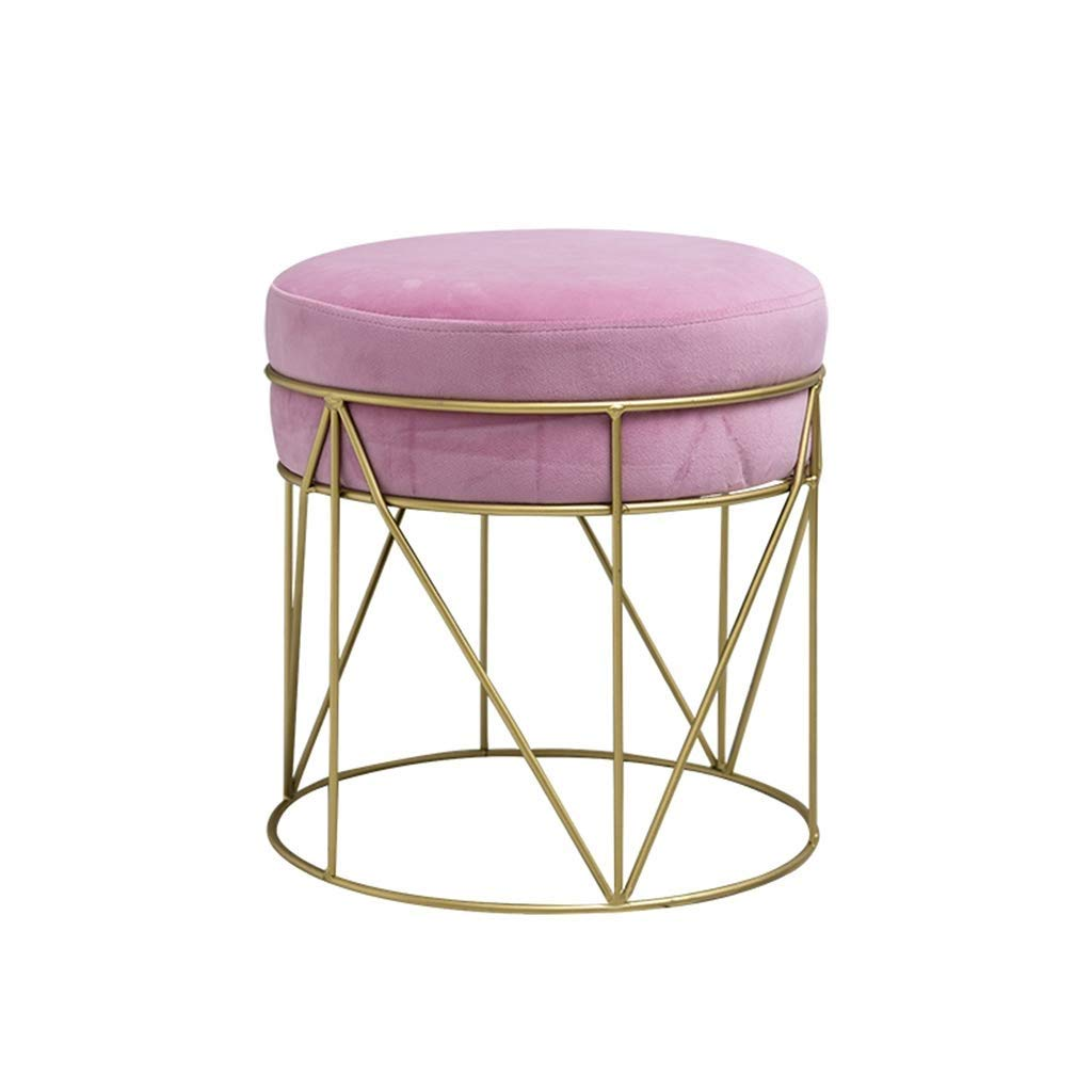 Pink European Chair Iron Stool Stool Dressing Stool, Fashion Low Stool Fabric shoes Bench GMING (color   Green)