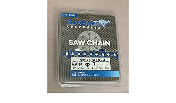 "5 Pack 24/"" Archer Chainsaw Chain 3//8/"" FULL CHISEL .050 Gauge 84 DL drive links"