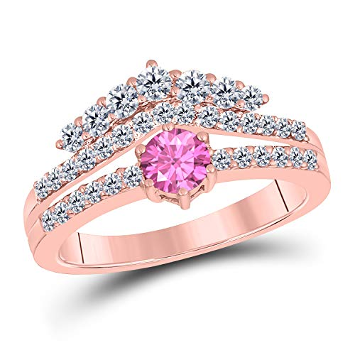 (Jewelryhub 1.50 Ct Round Cut Created Pink Sapphire 14K Rose Gold Finish Sterling Silver Crown Style Engagement Ring for Women's)