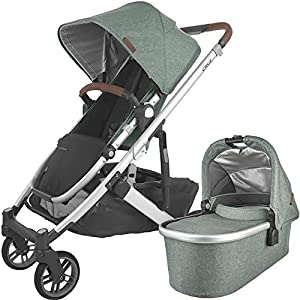UPPAbaby-Cruz-V2-Stroller-Emmett-Green-MelangeSilverSaddle-Leather-Bassinet-Emmett-Green-MelangeSilver