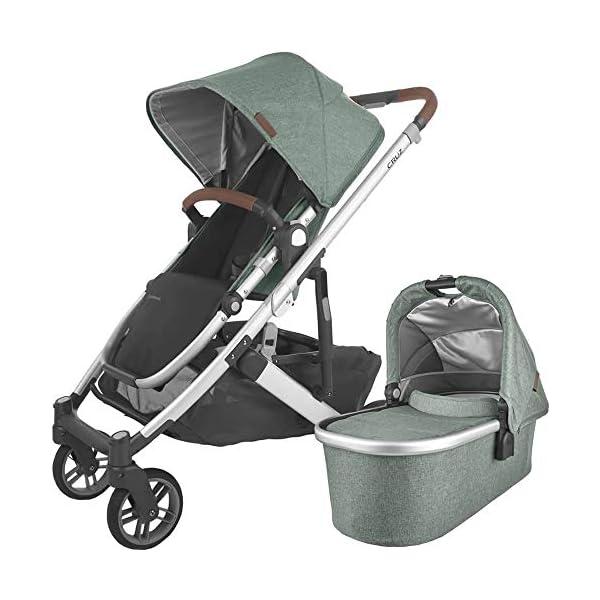 UPPAbaby Cruz V2 Stroller – Emmett (Green Melange/Silver/Saddle Leather) + Bassinet – Emmett (Green Melange/Silver)