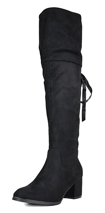 a68f057e63 DREAM PAIRS Women's Amus Black Over The Knee Chunky Heel Winter Boots Size  5 ...