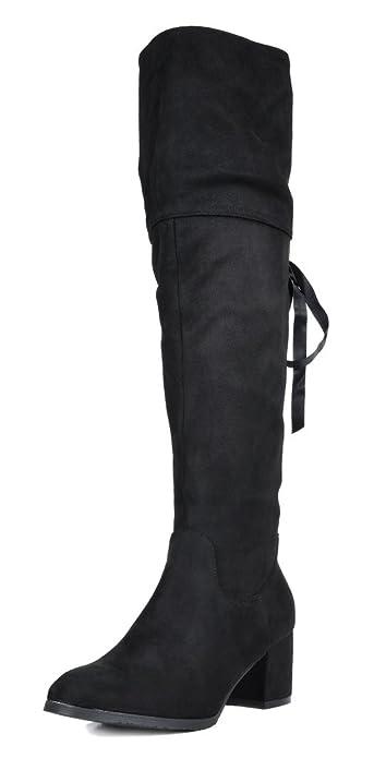 bf0811bc4b DREAM PAIRS Women's Amus Black Over The Knee Chunky Heel Winter Boots Size 5  M US