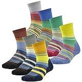 Cheap Wool Running Socks, ZEALWOOD Men's 3 Pairs Multi Performance Merino Wool Outdoor Sports mid calf Hiking Crew Socks Amazon Men Valentines Day Gift Wool Boot Men Work Socks,Stripe Multicolored,Large