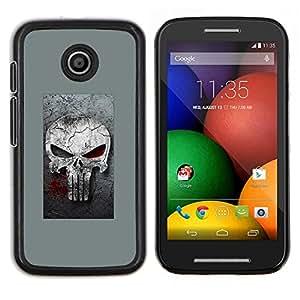 Qstar Arte & diseño plástico duro Fundas Cover Cubre Hard Case Cover para Motorola Moto E (Gray Sancionar cráneo)