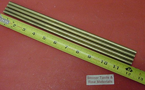 4 Pieces 5/16'' C360 BRASS ROUND ROD 12'' long H02 Solid .312'' OD Lathe Bar Stock 1.131 # by Stoner Metals