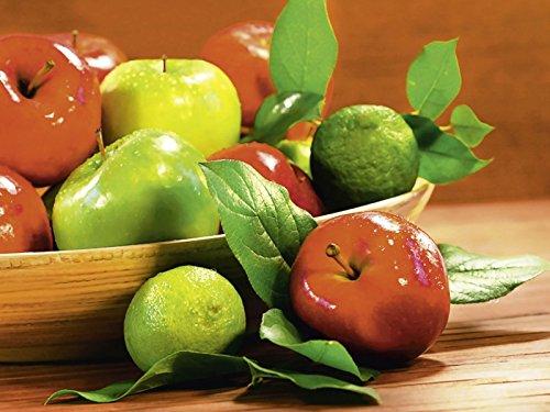 Artland Qualitätsbilder I Bild auf Leinwand Leinwandbilder Sandralise Rote und grüne Äpfel in einer hölzernen Schale Ernährung & Genuss Lebensmittel Obst Fotografie Rot B8DC