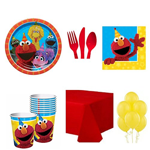 Sesame Street Deluxe Birthday Party Set Includes Plates Napkins Cups Cutlery Table Cover and Balloons Serves (Sesame Street Party Big Bird Lunch Napkins)