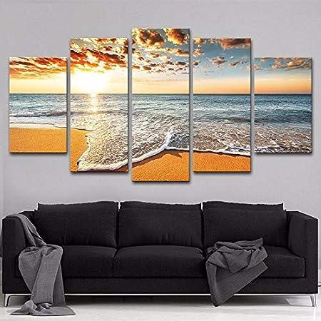 mmwin Cartel de Arte Imagen Modular 5 Piezas Sunshine Beach ...