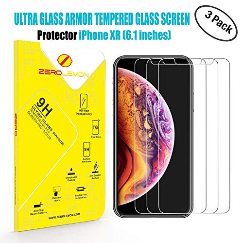 iPhone XR Screen Protector, ZeroLemon 6.1inch Tempered Glass Film for LCD Display, 3 Pack