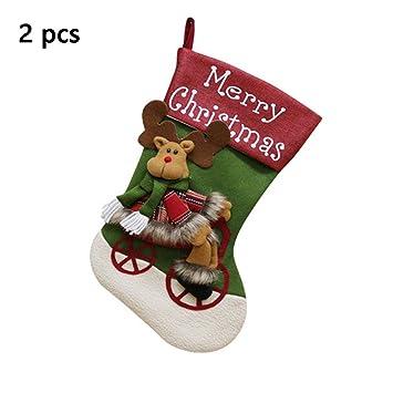 BAIVIT Bolsa De Calcetines De Navidad, 2 Piezas Muñeco De Nieve Papá Noel Alce Niños Dulces Calcetines Adornos De Navidad Colgando 46X25 Cm,Elk: Amazon.es: ...