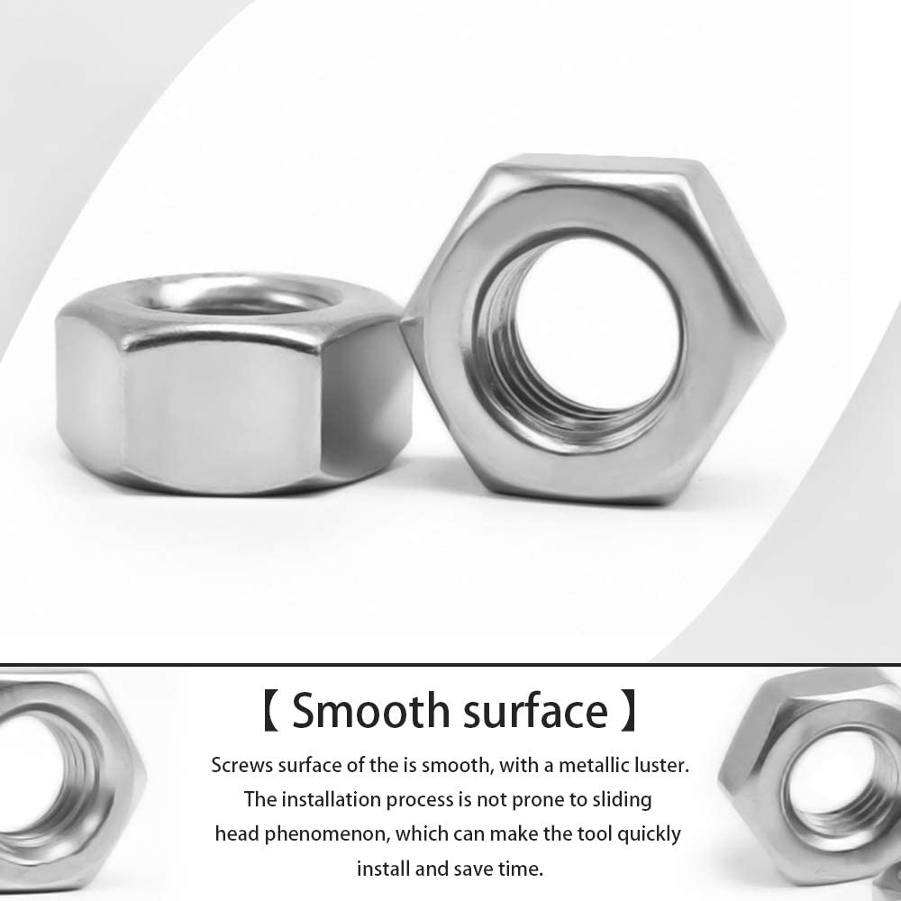 DAZISEN Right Spiral Nuts M6 100pcs Durable Standard Nut Non-Slip Hexagonal Nuts