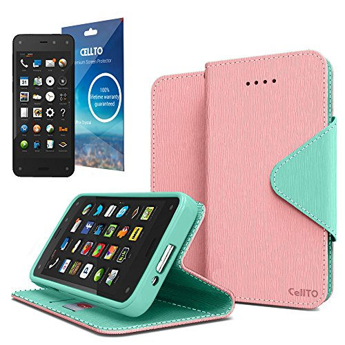 Cellto Amazon Fire Premium Wallet Case with HD Screen Protector [Dual Magnetic Flap] Diary Cover /w ID Pocket Top Quality &Life Time Warranty - Cotton Candy
