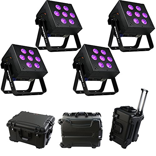 4x Blizzard SkyBox EXA RGBA+UV Battery Powered LED Fixtures with Wireless DMX Receiver and Case