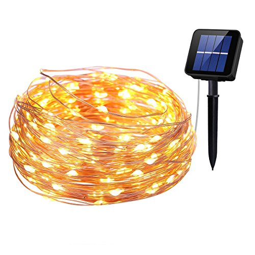 ar Powered String Lights, 8 Modes 72ft Copper Wire Starry Lights, Outdoor Waterproof IP65 Fairy Christams Decorative Lights for Gardens,Homes,Wedding,Party (Warm White) ()
