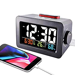 AIAI USA Alarm Clock Charger, Digital Alarm Clock for Bedroom, with USB Charging Port for Cell Phone and Snooze/Dimmable/Battery Backup Function (Black) (Black)