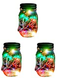 Outdoor Decor Color Changing Led Solar Mason Jar Lights(3 pcs), Starry Fairy String Lights Insert with Jar Decorative Accessories on Porch/Fireplace/Wall/Ground/Stairs/for Wedding Halloween Party