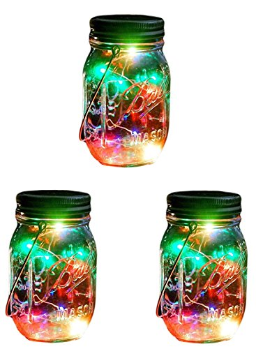 Outdoor Decor Color Changing Led Solar Mason Jar Lights(3 pcs), Starry Fairy String Lights Insert with Jar Decorative Accessories on Porch/Fireplace/Wall/Ground/Stairs/for Wedding Halloween Party ()