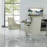 Linen Acrylic Leg Dining Chair Set of 2, Cream White Review