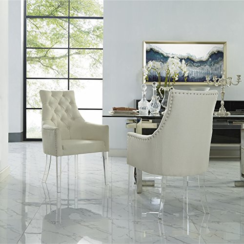 Linen Acrylic Leg Dining Chair Set of 2, Cream White
