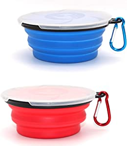 Collapsible Dog Bowl,2 Pack Portable and Foldable Pet Travel Bowls Collapsable Dog Water Feeding Bowls Dish for Dogs Cats and Small Animals,with Lids (Blue+Red)