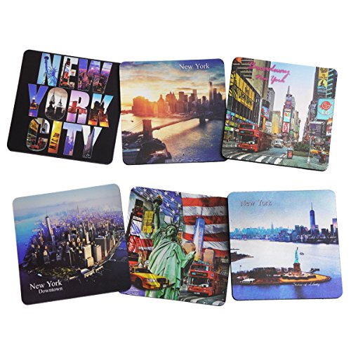 New York Color Photo Beer and Drink Coaster NY Souvenir NYC Gift - Pack of 6